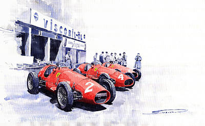 1953 Team Ferrari 500 F2 German Gp Poster
