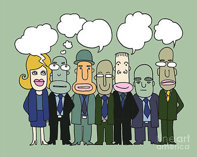 Team Of  Business People Stand And Talk In Speech Bubbles Poster