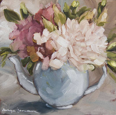 Teapot With Peonies Poster