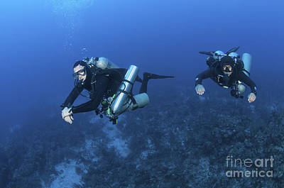Technical Divers With Equipment Poster