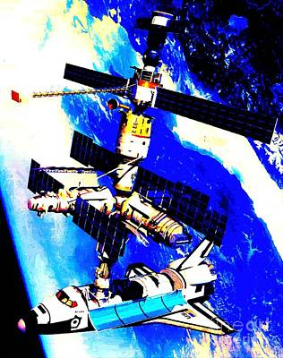 Technical Rendition Of The Space Shuttle Atlantis Docked To The Kristall Module Of The Russian Mir  Poster