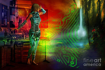 Poster featuring the digital art Techno Future by Shadowlea Is