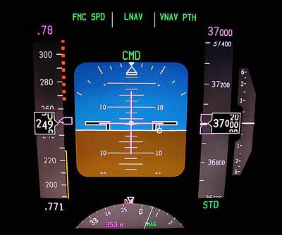 Technology. Aircraft Flight Deck At 37000 Ft. Poster by Fernando Barozza