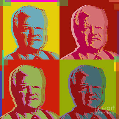 Poster featuring the digital art Ted Kennedy by Jean luc Comperat
