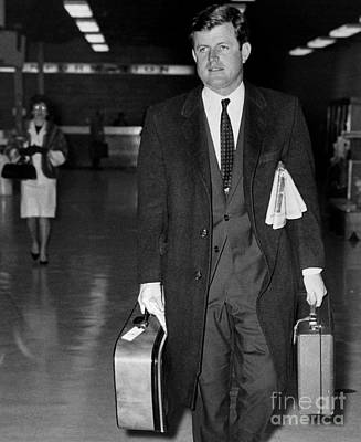 Ted Kennedy Leaving La Guardia Airport For Washington. 1966 Poster