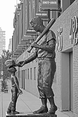 Ted Williams Statue Boston Ma Fenway Park Black And White Poster by Toby McGuire