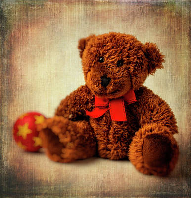 Teddy Bear And Ball Poster