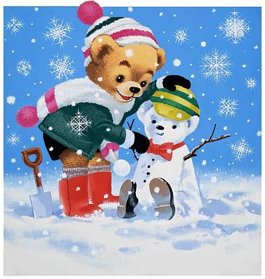 Teddy Bear Building A Snowman Poster by William Francis Phillipps