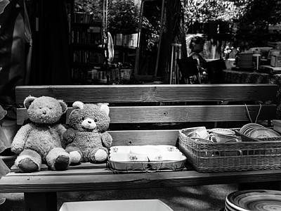 Teddy Bear Lovers On The Bench Poster by Yoel Koskas