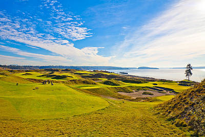 Teeing Off On The 15th - Chambers Bay Poster by David Patterson