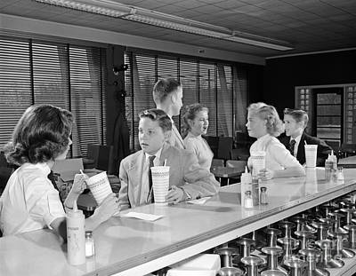 Teens At Soda Fountain, C.1950s Poster by H. Armstrong Roberts/ClassicStock