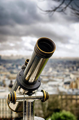 Telescope At The Sacre-coeur Viewpoint Poster by Pablo Lopez