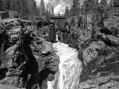 Temperance River Black And White Poster by Alison Gimpel