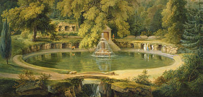 Temple Fountain And Cave In Sezincote Park Poster by Thomas Daniell