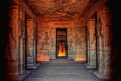 Temple Of Hathor And Nefertari Abu Simbel Poster by Nigel Fletcher-Jones
