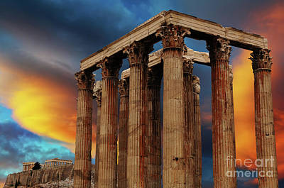 Temple Of Olympian Zeus Poster by Bob Christopher