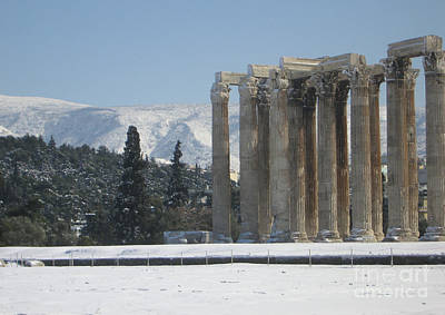 Temple Of Olympian Zeus In The Snow  Poster by Clay Cofer