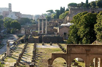 Temple Of Vesta. Arch Of Titus. Temple Of Castor And Pollux. Forum Romanum. Roman Forum. Rome Poster by Bernard Jaubert