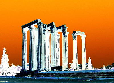 Temple Of Zeus, Athens Poster by Karen J Shine