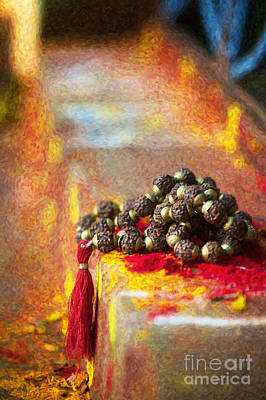 Temple Rudraksha Beads Poster by Tim Gainey