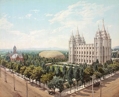 Temple Square, Salt Lake City, Utah, 1899 Poster by Detroit Photographic Company and William Henry Jackson