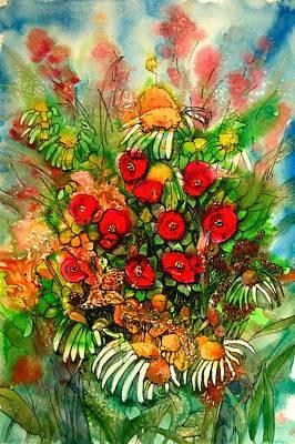 Ten Red Flowers Poster by Shirley Sykes Bracken