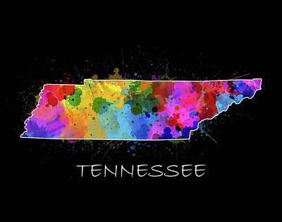 Tennessee Map Color Splatter 2 Poster