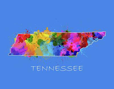 Tennessee Map Color Splatter 3 Poster
