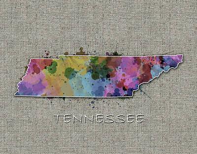 Tennessee Map Color Splatter 5 Poster