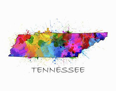 Tennessee Map Color Splatter Poster