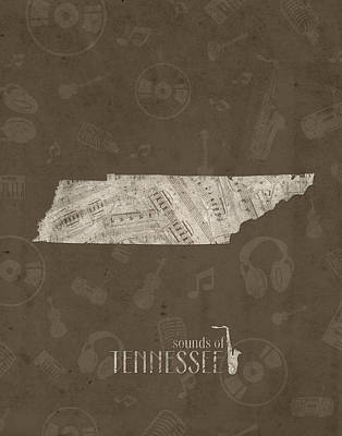 Tennessee Map Music Notes 3 Poster