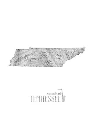 Tennessee Map Music Notes Poster