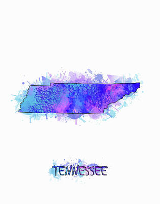 Tennessee Map Watercolor 2 Poster