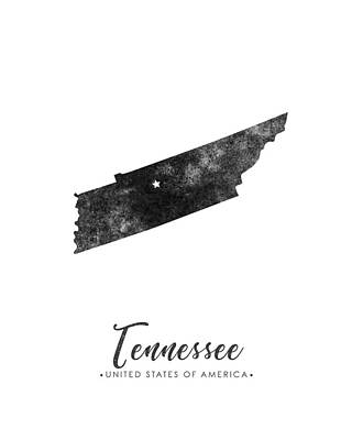 Tennessee State Map Art - Grunge Silhouette Poster