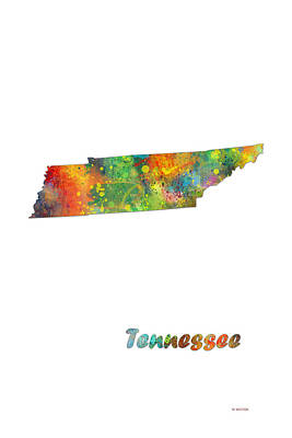 Tennessee State Map Poster by Marlene Watson