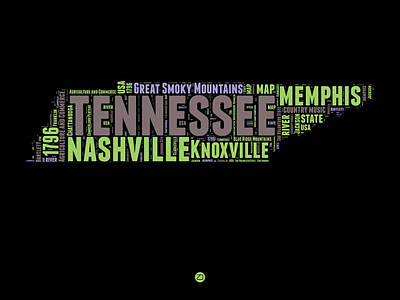 Tennessee Word Cloud Map 1 Poster by Naxart Studio