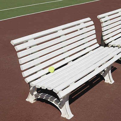 Tennis Court Benches Poster by Skip Nall