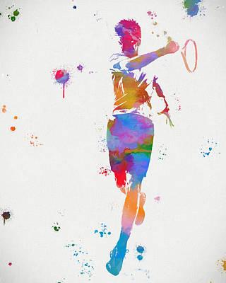 Tennis Player Paint Splatter Poster