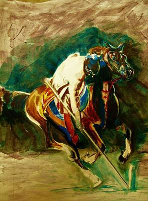 Tent Pegging Sport Poster by Khalid Saeed