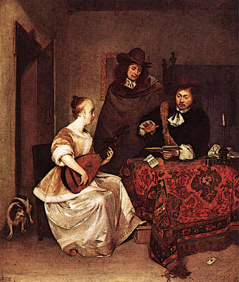 Terborch Gerard A Young Woman Playing A Theorbo To Two Men Poster by Gerard ter Borch