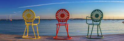 Terrace Chairs Panoramic Poster by Jay McCarthy