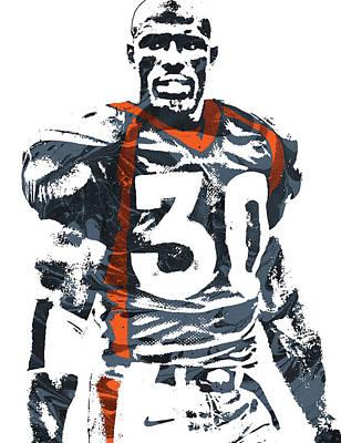 Terrell Davis Denver Broncos Pixel Art 2 Poster by Joe Hamilton