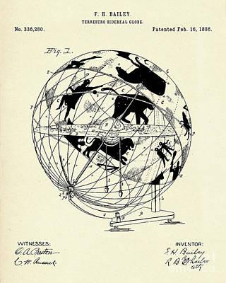 Terrestro Sidereal Globe-1886 Poster