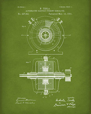 Poster featuring the drawing Tesla Generator 1891 Patent Art Green by Prior Art Design