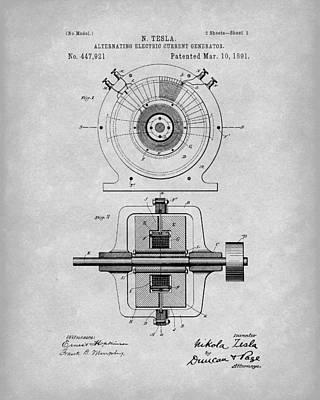 Tesla Generator 1891 Patent Art Grey Poster