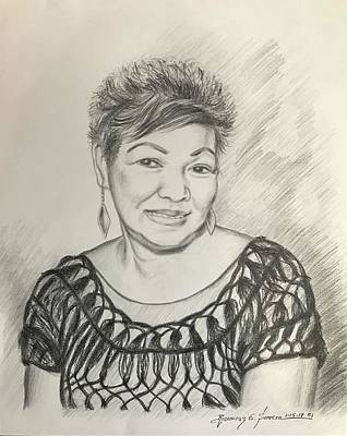 Poster featuring the drawing Tessie Guinto  by Rosencruz  Sumera