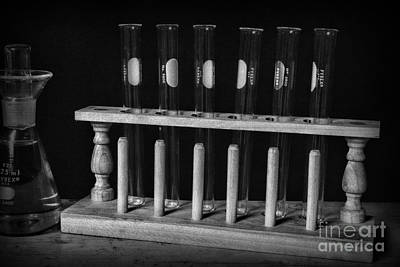 Test Tubes In Black And White Poster by Paul Ward