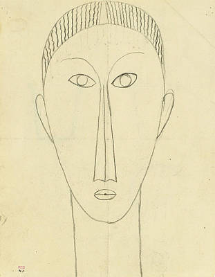 Tete De Face Poster by Amedeo Modigliani