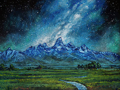 Poster featuring the painting Teton Milky Way by Aaron Spong