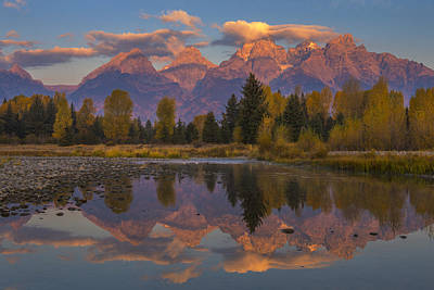 Teton Morning Mirror Poster